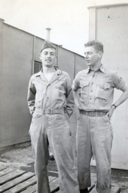 "Jim Rainey and John Pope at New River, North Carolina. The two were best friends; Pope later dedicated his memoir, ""Angel On My Shoulder,"" to ""James T. Rainey, my closest buddy and true comrade in arms. We joined the Marines together, fought together, and by the grace of our Heavenly Father came home together."""