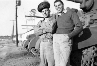 """John Pope and Salvador """"Mike"""" Nobile at the tank park at New River."""
