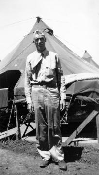 """Navy corpsman Doc Munski assigned to 1st Batt. Maui."" Munski won the Legion of Merit for saving fifty lives on Saipan."