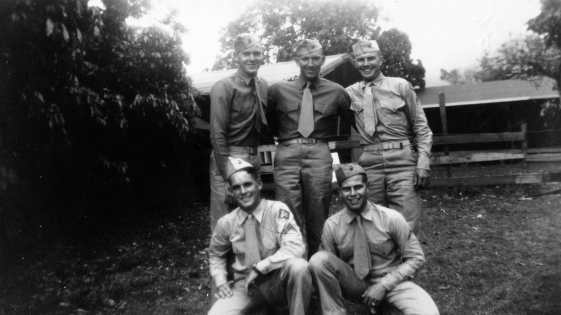 One of Pope's oldest buddies, Corporal Wally Duncan, with his squadmates in 1945.