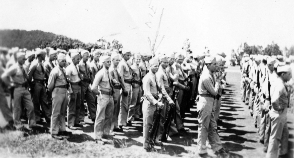 At a formal occasion at Maui, near the end of the war. Pope is front and center as indicated by the arrow.