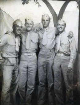 Photographers near any Marine base did a brisk business. Dan Girdano (at far left) poses with three friends.