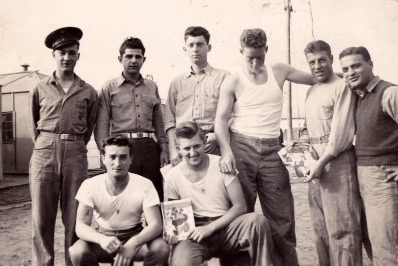 """""""Rainey's buddies."""" Mortarmen and gunners at New River, 1942."""