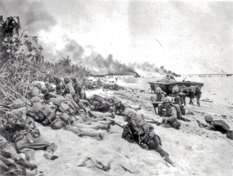 Pinned down by enemy fire, these marines try to find a way inland.