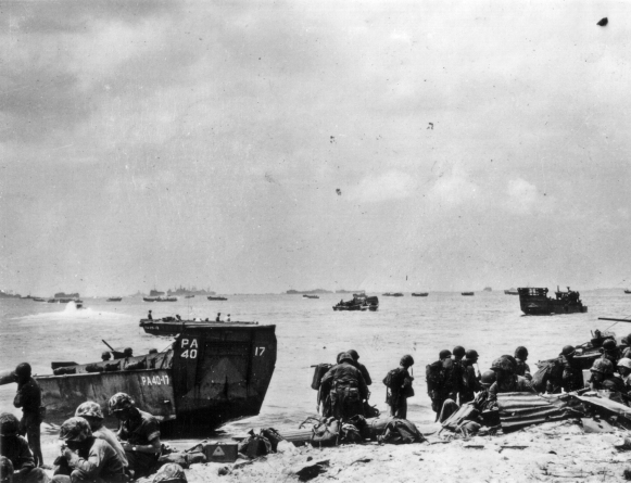 Marines get organized on a Pacific beachhead.