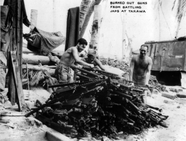 Marine armorers have a lot of work ahead of them - these .30 caliber M1919 Browning machine guns were damaged or burnt out during the fighting.