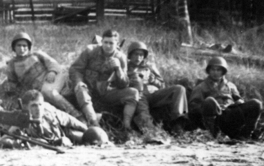 Members of Sandy's platoon training in California, 1943.