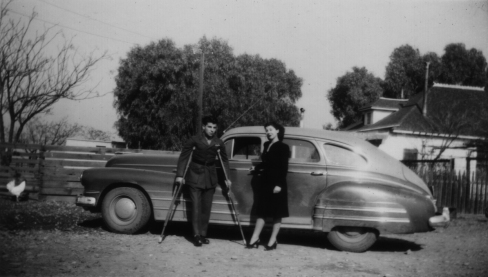 In December 1944, Bernard was allowed out of the hospital. He is shown here at a private residence - possibly his mother's house.