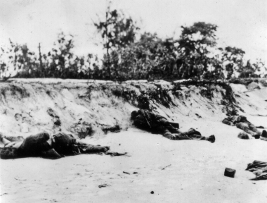 These Marines never made it off the beach. Saipan, June 1944.