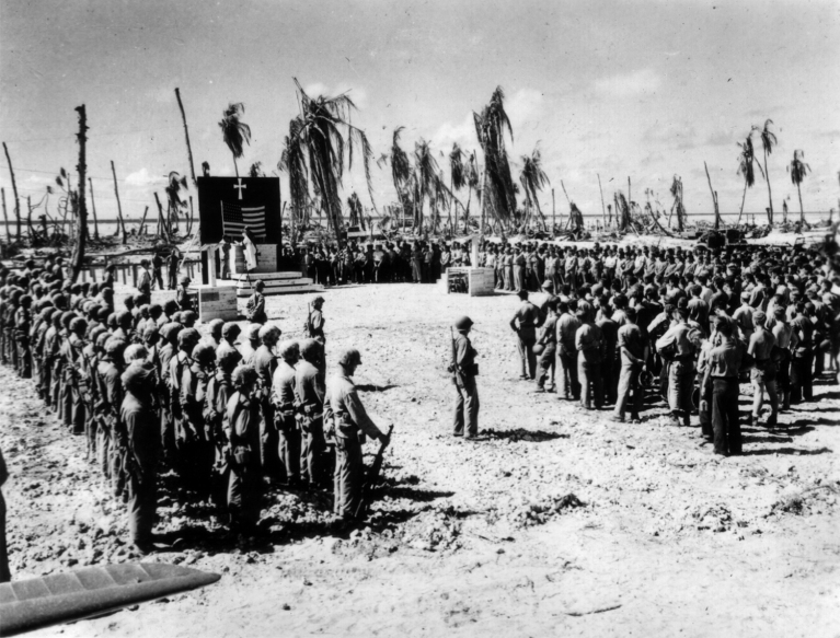 A more formal ceremony honoring the dead of Tarawa.