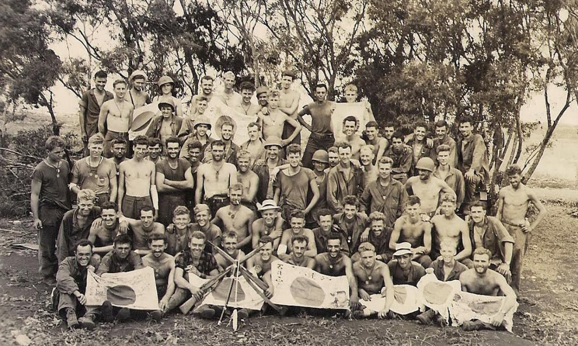 Survivors of Company B on Tinian, following the Marianas campaign.