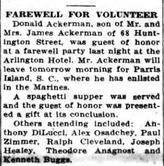 Ackerman was seen off with all due celebration. Cortland Standard, April 4, 1941.