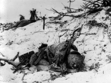 This BAR gunner was hit by a grenade or mortar while fighting on Tarawa.