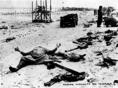 The price of Tarawa - one of over a thousand Marines killed taking the tiny island of Betio.