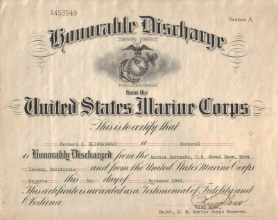 On November 5, 1945, Corporal Elissagaray was formally discharged from the service.