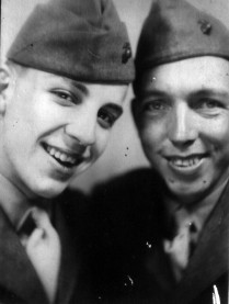 """""""Dues and I."""" Bernard's best friend in the company was First Platoon's runner, PFC Richard Dues."""