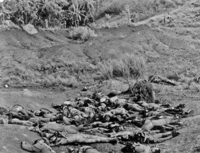 The ferocity of Pacific fighting became evident early in the war, as shown by the shattered bodies of Japanese soldiers on Guadalcanal after a failed attack on Edson's Ridge in November, 1942.