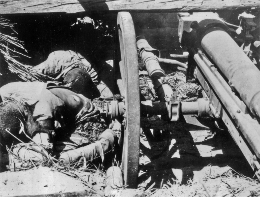 These Japanese were killed manning their artillery piece.