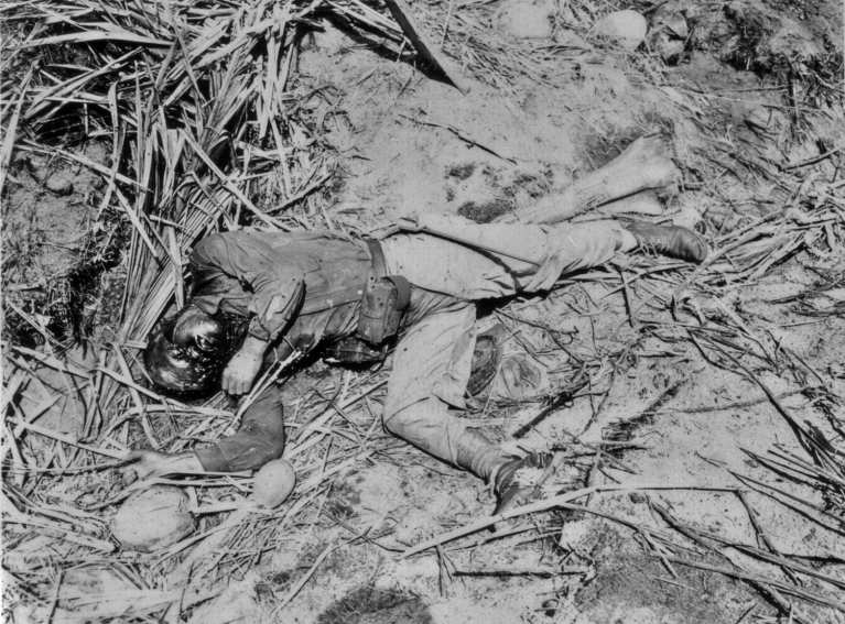 The effects of a tropical climate on the dead are horribly illustrated in this study of a Japanese soldier.