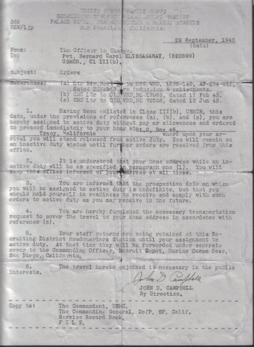 Bernard Elissagaray was issued this document after enlisting in the Marine Corps in San Diego, California. He had turned seventeen - the minimum legal age to join - the day before.