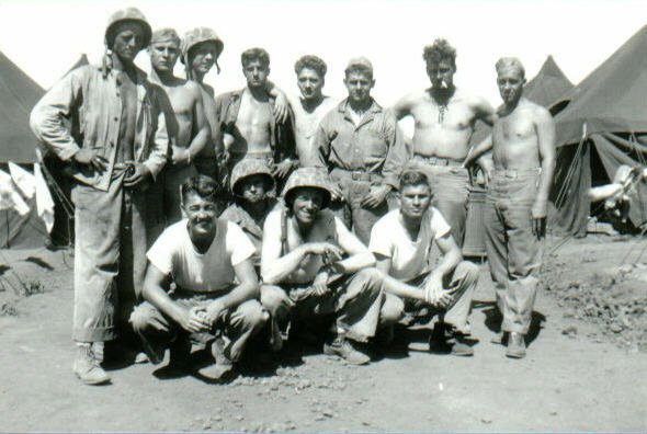Sergeant Frihauf's squad, 1944. Anderson is at the right in the front row.