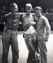 Hal Fritz, Bill Davis, and Bob Larson goof around for the camera.