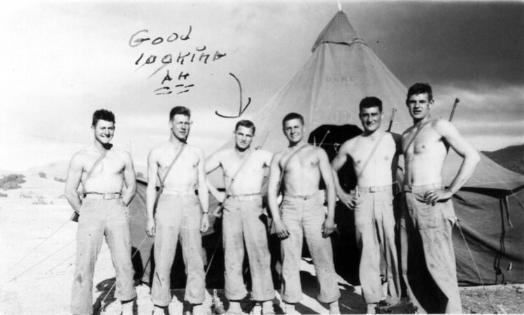 """Sandy Ball - the """"good looking"""" one - with other members of his squad at Camp Maui. Mike Mervosh is standing to his right."""