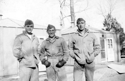 "Three machine gunners at New River, 1943. Clifford ""Joe"" Devoy, Ed DuBeck, and Joseph Peterpaul."