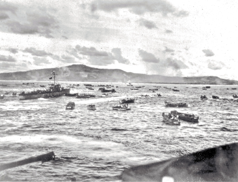The landings on Saipan as seen from one of the Navy's ships.