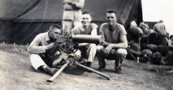 "Walter ""Butch"" Campbell, ""GI,"" and ""Pop"" Johnson with the MG."