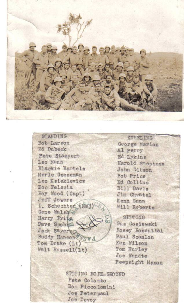 This photo of the company after Iwo Jima was given out to many veterans, but only Davis - a true clerk - typed the names of all the men on the back.