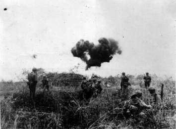 Marines on patrol pause as a man with a flamethrower burns a potential obstacle.