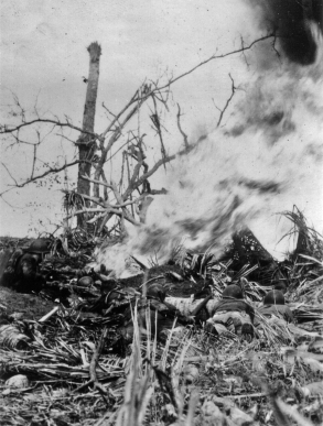 A marine patrol on Guam watches as a flamethrower attacks a Japanese position.