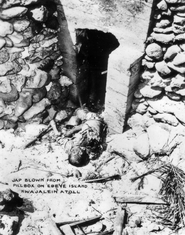 A Japanese solider met a grisly end on Ebeye Island, Kwajalein atoll.