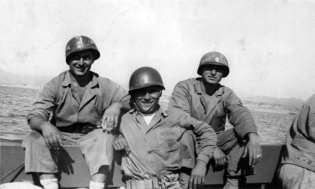 Thomas Melvin Harris, Robert DeNunzio, and Sandy Ball. DeNunzio was badly wounded on Iwo Jima but survived; Harris was killed.