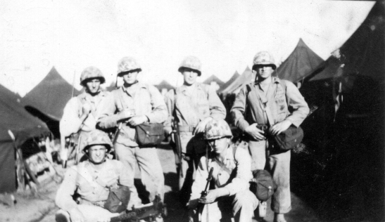 Sandy's machine gun squad at Camp Maui before the battle of Iwo Jima.
