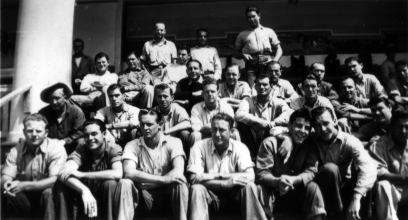 Rehabilitating at the Naval Hospital, Santa Cruz. Bernard is in the front row, second from right.