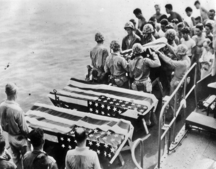 Although burial at sea was considered a formal burial, many men whose remains were committed to the deep were later listed as Missing In Action.