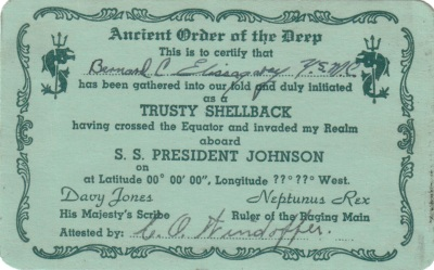 "Elissagaray was given this card for crossing the equator; his status as a ""shellback"" would come in handy for his future career as a sailor."