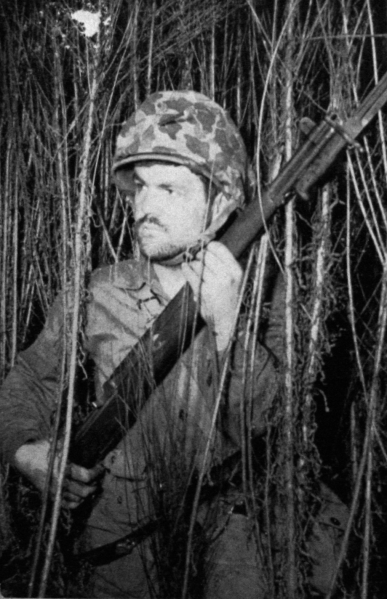 """Sniper in the Thick of the Tall Reeds."" Camp Pendleton, 1943."
