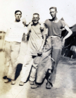 Three unidentified Marines at Camp Maui. The tall one on the right may be James Pritchett, a former member of Company D who had been with the machine guns since the regiment was formed in 1942.