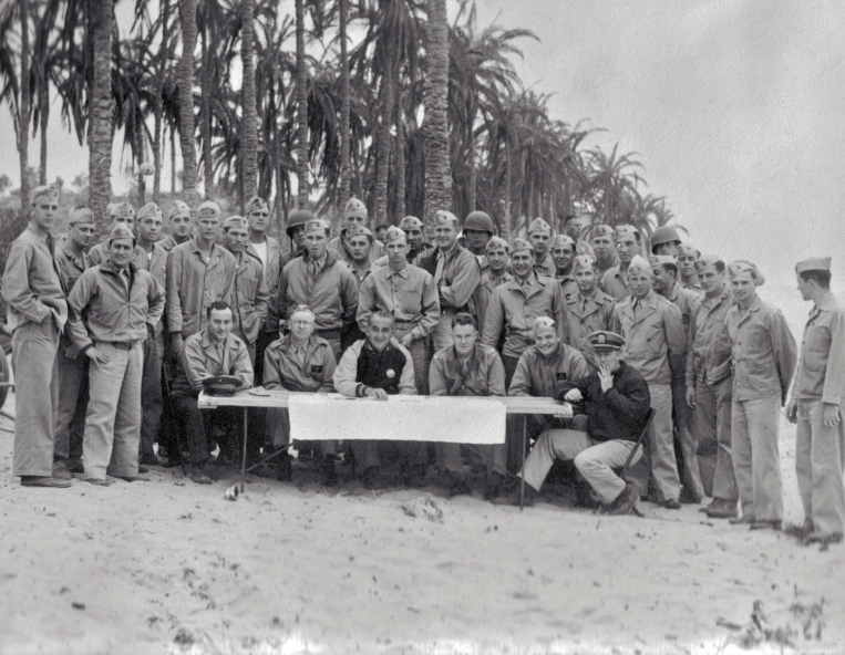 "Officers of the battalion on a California beach, during the filming of ""Guadalcanal Diary."""