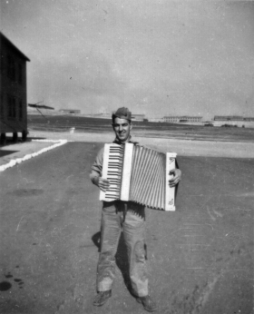 Raymond Davis with the company accordion.