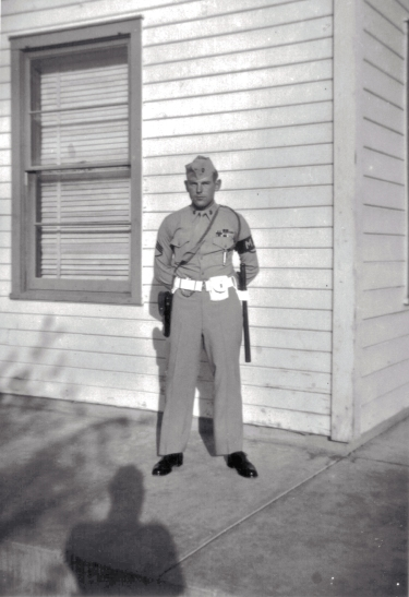 An MP stands guard at Barstow, California.