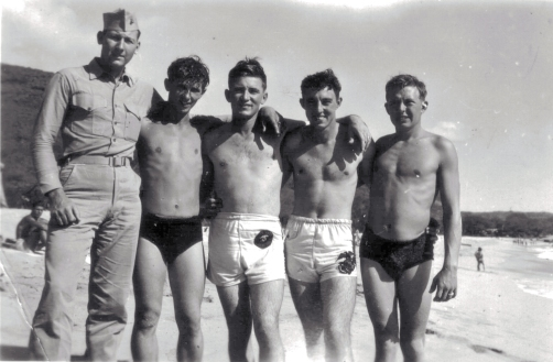 George Smith (second from right) and some friends on the beach.