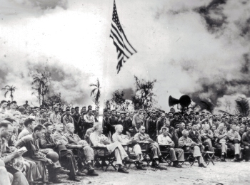 Officers and men of the Fourth Marine Division at the Saipan cemetery dedication, 1944.