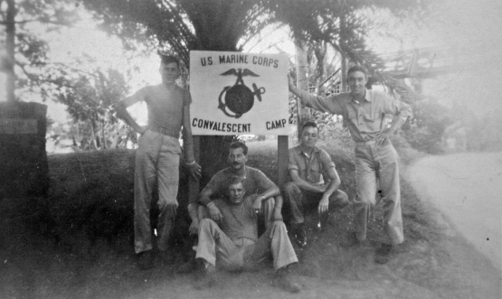 A group of recuperating Marines outside the main gate of Kokokahi. George Smith, at right, is wearing a bandage where a Japanese bullet hit his left arm on Saipan.