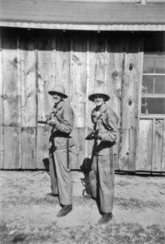 George Smith and JJ Franey with bayonets. Parris Island, 1942.