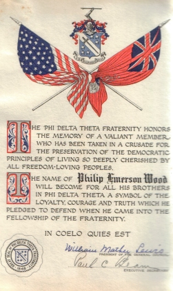 Memorial certificate presented by Phil's fraternity.