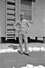 George Smith outside the company barracks.